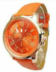 新品 ビッグフェイス 腕時計 オレンジ ウォッチ ユニセックス