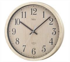 電波壁掛け時計 ティンバー ステップ秒針 ナチュラル