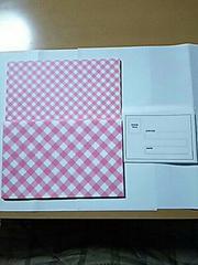 封筒 11枚セット アドレスシール付き 可愛いピンクチェック