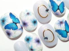 ★MIKAKO★ブルー系蝶々と花ネイル・ショート(129)