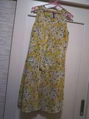 gaminerie ★M シフォン透け素材 ブラウスワンピース 花柄黄色