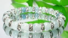 アクアマリン§8ミリ§銀ロンデル§癒し数珠