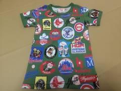 ヒスミニ ベースボールパロ総柄Tシャツ  グリーン 120cm 新品