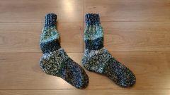 ★北海道発 毛糸の手編み靴下 ルームソックス 防寒 �G★