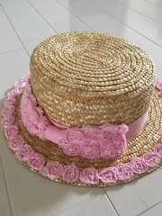 お花麦わら帽子*カンカン帽 54cm
