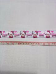 【伸縮】16mm巾 キティ柄リボン白1M