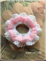 ハンドメイド/手編み♪毛糸のダブルフリル編みシュシュ 1