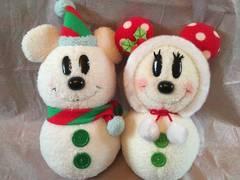 ディズニー★ミッキーミニー/雪だるまぬいぐるみ/クリスマス