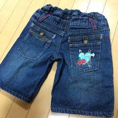 薔薇刺繍◆デニムハーフパンツ◆140ダブルウエスト