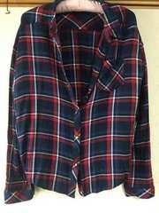 美品★チェックシャツ レッド ネイビー L