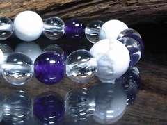 ホワイトターコイズ10ミリ§アメジスト水晶数珠