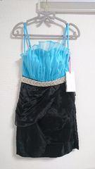 S ミニドレス Jewels 水色×ブラック オーガンジー 新品 J16496