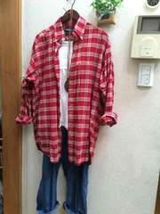 ラルフローレン☆赤白チェックビッグシャツ