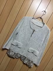 2.2万新品タグ付きMAITRESSE★裾シフォン付き春ジャケット