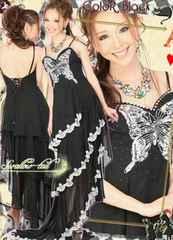 値下●新品スワローテイル/3段シフォンアシメロングドレス パーティードレス●イベント/キャバ