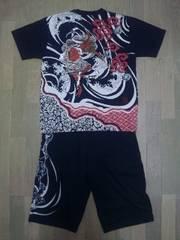 セール 新品 [ 絡繰魂 ]雷神 刺繍 半袖Tシャツ 上下セット スカジャン好きにも