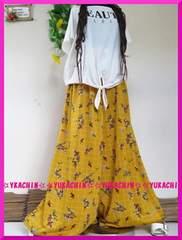 春夏新作◆大きいサイズ4Lイエロー×花柄◆大人気ワイドパンツ