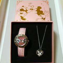 新品〓ディズニー★腕時計&ネックレスセット♪電池切れ/ピンク