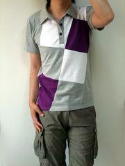 デザインポロシャツL-grey(新品)※2点送料無料