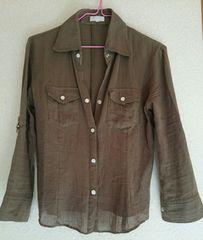 vigny36 流行アースカラー カーキブラウン七分袖ガーゼ風シャツ