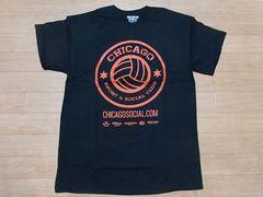 即決!USA古着●鮮やかロゴデザイン半袖TシャツM黒★アメカジ