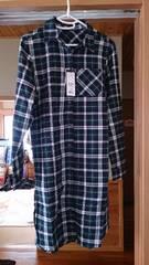 新品 INGNIのチェック柄ロングシャツネイビー×グリーンM(定価3780円)