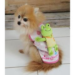 犬服 カエルをおんぶしているシャツ/ピンク/M