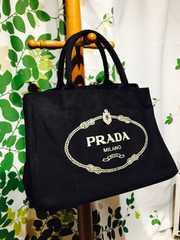 良品プラダカナパハンドバッグブラックキャンバス保存袋