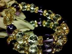 ゴージャス紫水晶アメジスト&64面カット水晶10ミリ金色ゴ-ルドロンデル