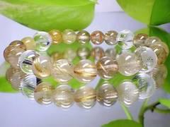 高級天然石☆素彫四神獣水晶10ミリ・金針ルチル8ミリ☆数珠
