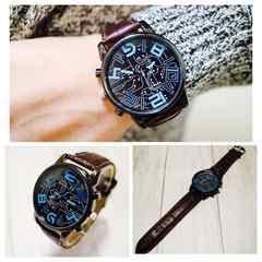 腕時計 オシャレ 数字 レザー 時計 革ベルト ウォッチ 茶色