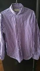 カジュアル★紫★ブロックチェック★シャツ★size L 男女兼用★