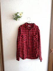 GU☆チェックネルシャツ☆赤×黒