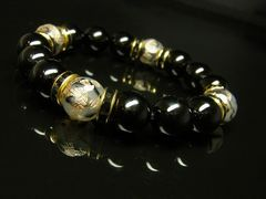 金彫皇帝龍ドラゴンアゲート×ブラックオニキスブレスレット 開運数珠 12ミリ