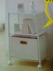ウッド ボード付 カラー メタル ラック 3段 ホワイト キャスター付 専用袋 家具 チェスト