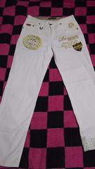 古着『バナナセブン☆BANANA*SEVEN☆白刺繍パンツサイズL』