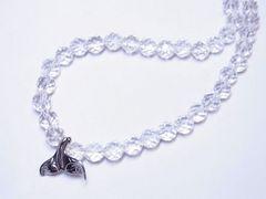 ハワイアンジュエリー ホエールテールトップ×ダイヤカット水晶クリスタルネックレス