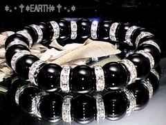 天然石★12ミリ黒瑪瑙AAAオニキス&銀色平形ロンデル数珠