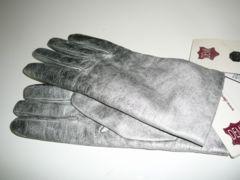 わけありイタリア製裏ニット革手袋シルバー