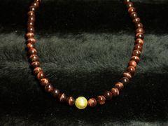金針ゴールドルチル&レッドタイガーアイ数珠ネックレス!!おすすめの組み合わせ