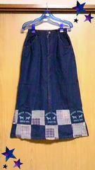 Usedデニムロングスカート  パッチワーク裾美品