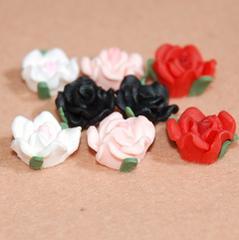 ★デコパーツ★12ミリ樹脂粘土薔薇★フラワー★4色8個