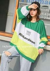 LL3L4L5L大きいサイズ/ゆったりグリーン切替ロゴTシャツ
