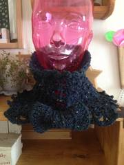 ♪手編み♪   つけ襟風 リボンスヌード  ツイードネイビー