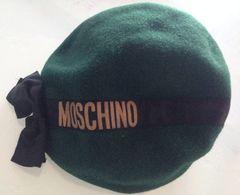 MOSCHINO モスキーノリボン ベレー帽(モスグリーン)