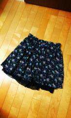 小花柄シフォンスカート☆オリーブ