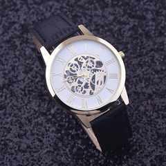 腕時計 ギリシャ文字 クォーツメンズ レザー ベルト ウォッチ 黒