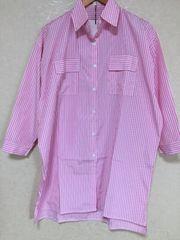 ★新品★大きいサイズ★LL~4L★ストライプシャツワンピース★ロングシャツ