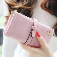 【ピンク】レディース 長財布 スウェード調 大容量 カラー多数