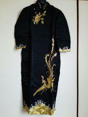 チャイナドレス★高級チャイナ服★金刺繍★鳳凰ブラック黒